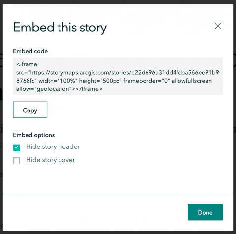 Screenshot of modal to copy embed code for a story in ArcGIS StoryMaps