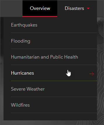 Disasters tab - Hurricanes