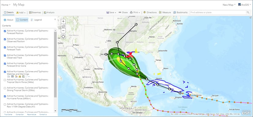 Active hurricanes web map