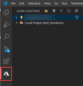 Azure icon outlined in red after installing the Azure Functions extension.