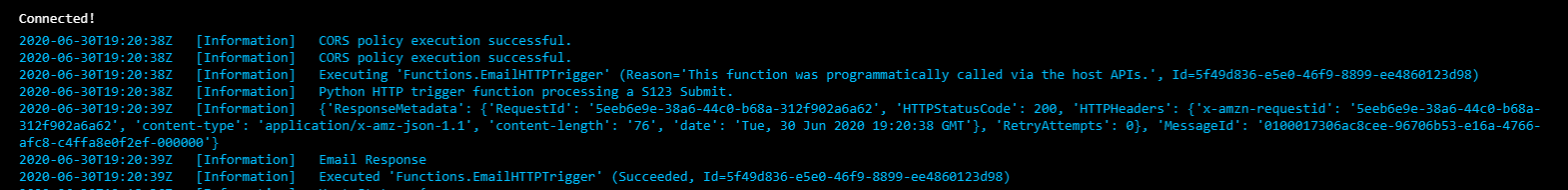 Example output of the Log stream when successfully running the function.