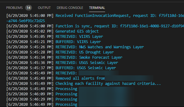 Successful output of console when executing the code locally.