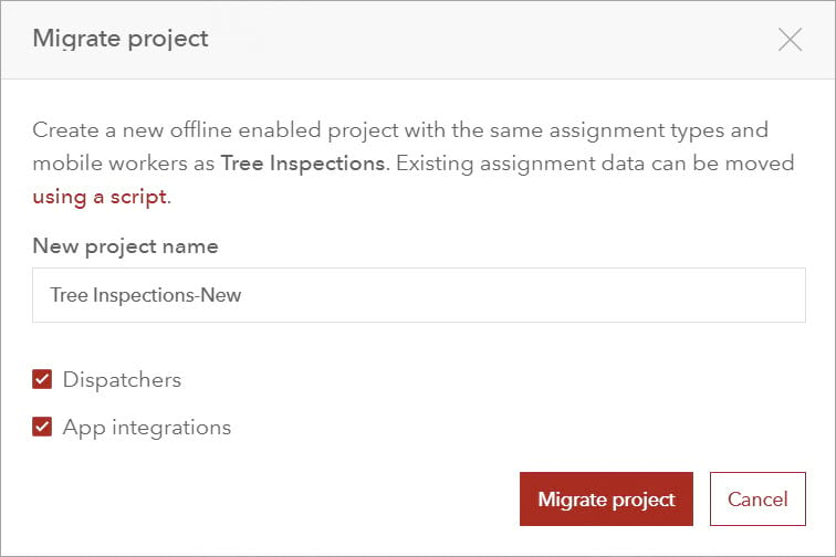 Migrate project window