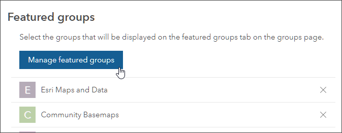 Manage featured groups