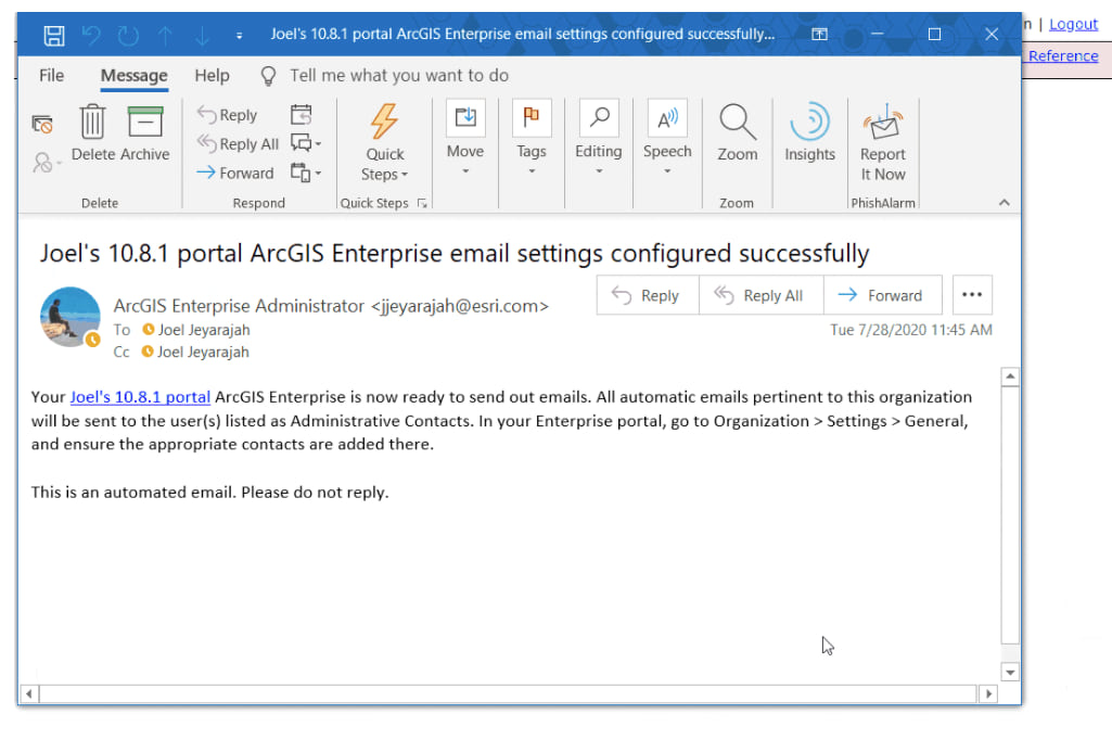 Using test email settings operation to confirm sending emails in portal.
