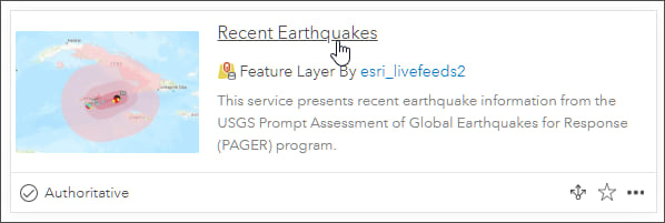 Recent Earthquakes feature layer