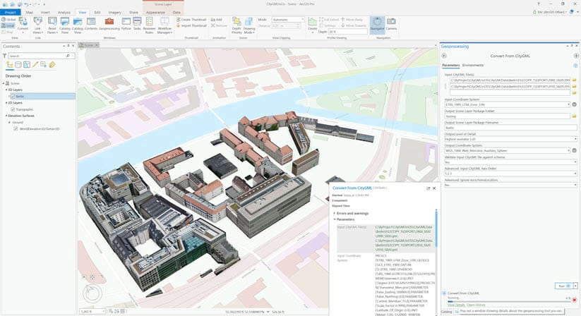 Running the Convert Building from CityGML Geoprocessing Tool