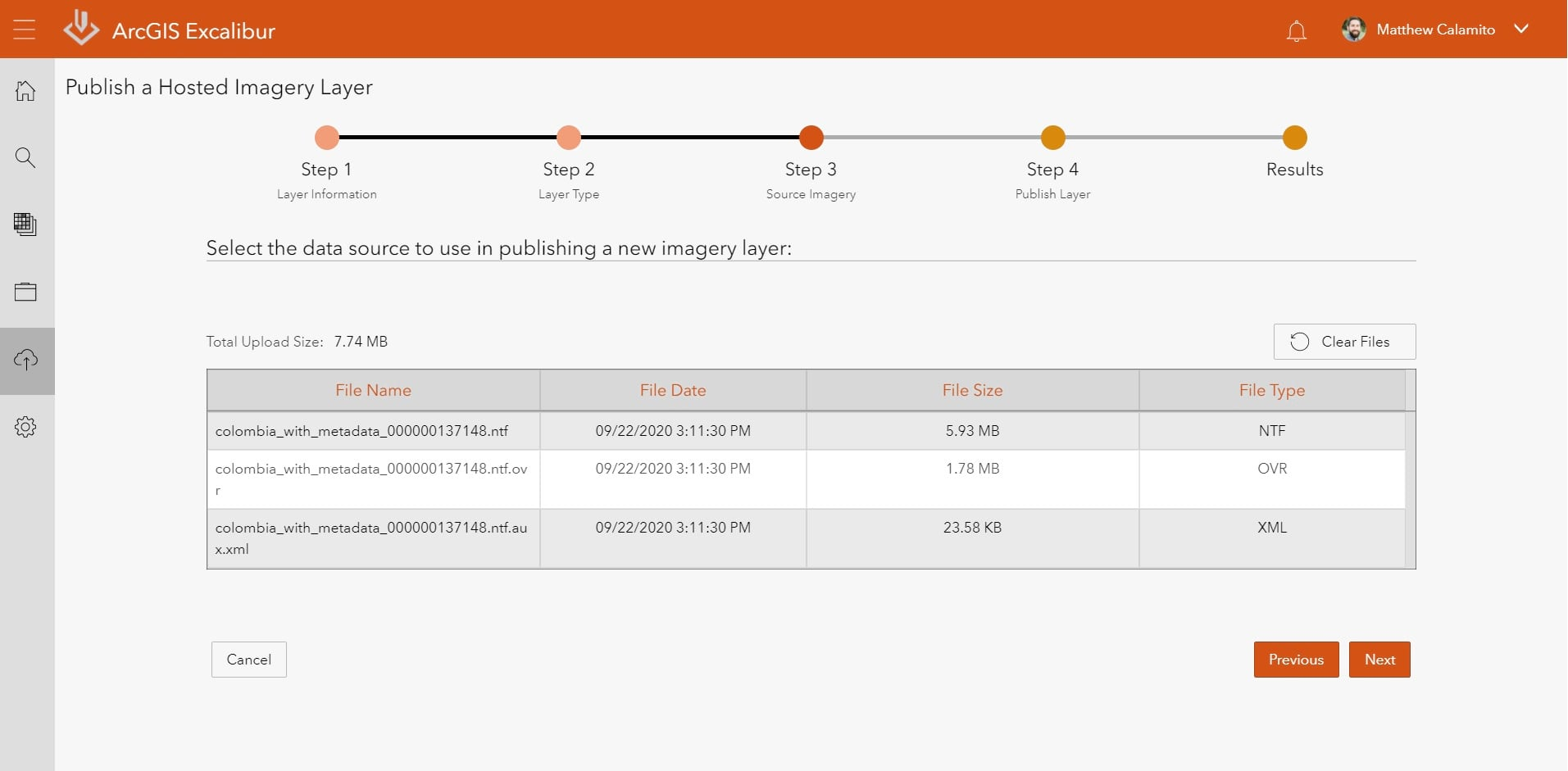 ArcGIS Excalibur Publish Imagery Step 3 - Select Imagery