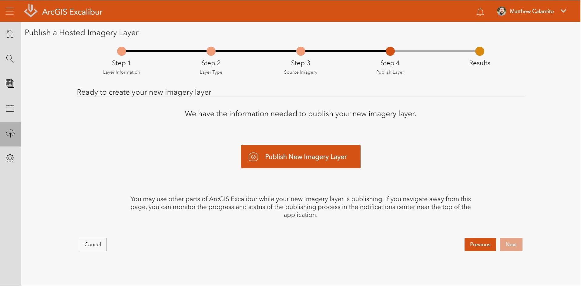 ArcGIS Excalibur Publish Imagery Step 4 - Publish Imagery