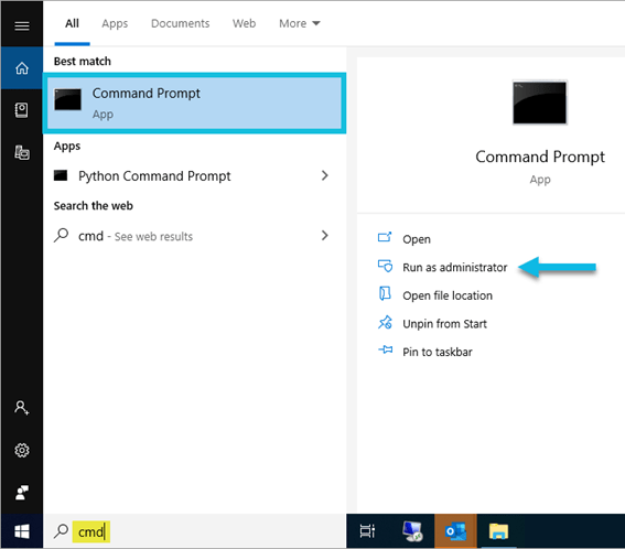 Windows Taskbar search results