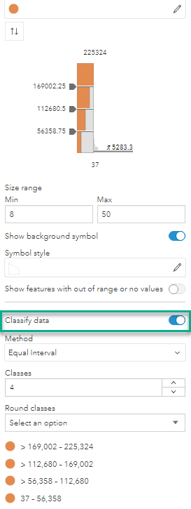 The Classify data option is now toggled on.