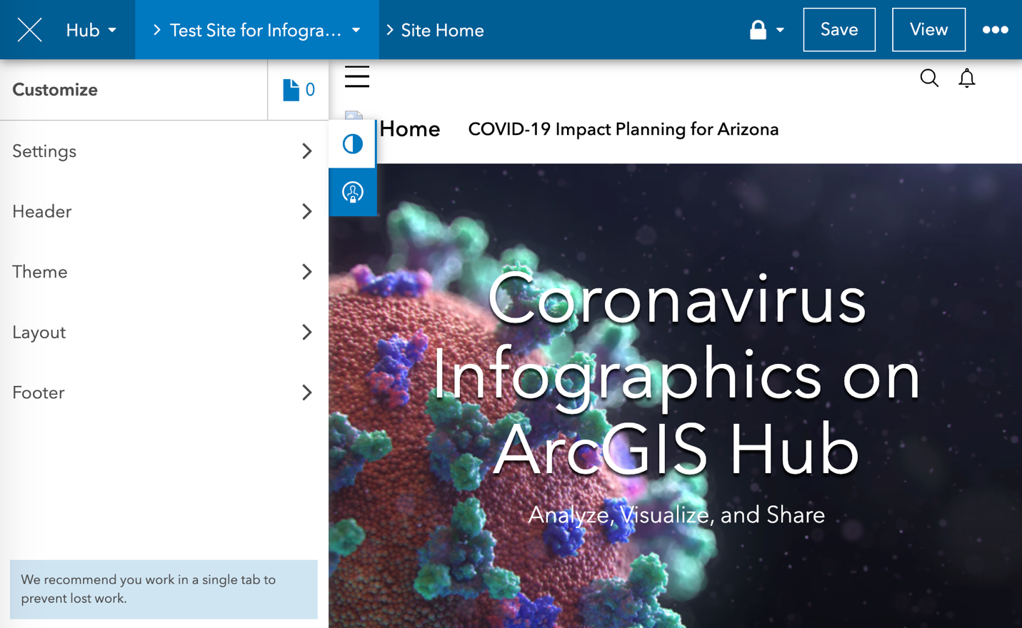 An ArcGIS Hub site featuring an infographic