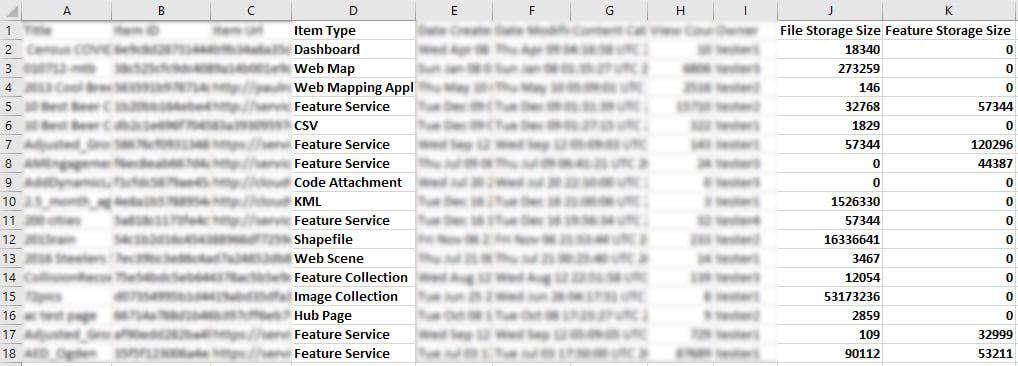 Snapshot of a sample item report