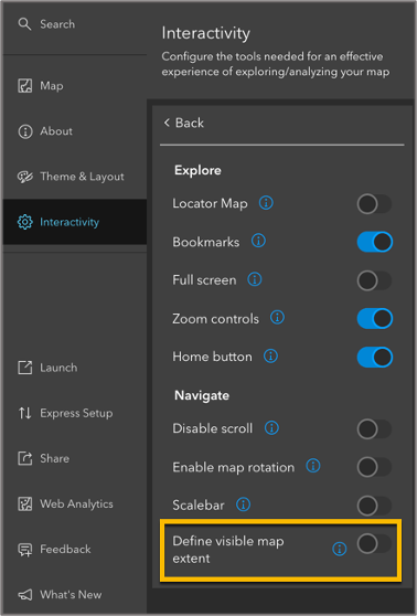 Explore and Navigation section of configuration panel, highlighting Define visible map extent settings