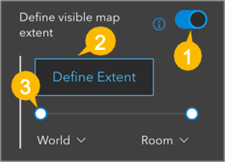 Image of Define visible map extent settings, pointing to each option available