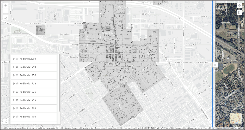Image of completed Media Map application with City of Redlands historic imagery