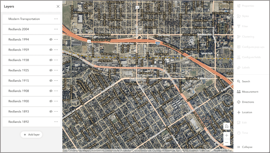 Image of City of Redlands imagery data displayed in Map Viewer Beta