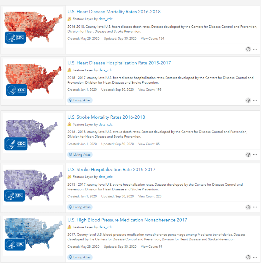 Cards of all five items as they would appear in ArcGIS Online search.