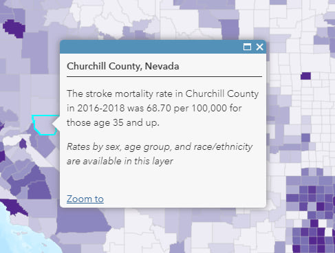 """Churchill County, Nevada is selected on the map. The pop-up reads: """"The stroke mortality rate in Churchill County in 2016-2018 was 68.70 per 100,000 for those age 35 and up. Rates by sex, age group, and race/ethnicity available in the layer."""""""