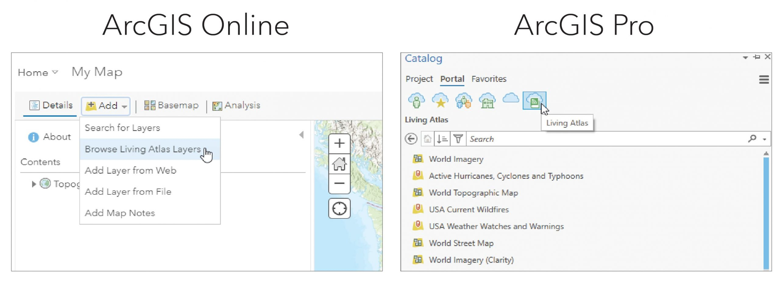 This image shows the two windows in ArcCatalog and ArcGISOnline from which to directly add in Living Atlas layers