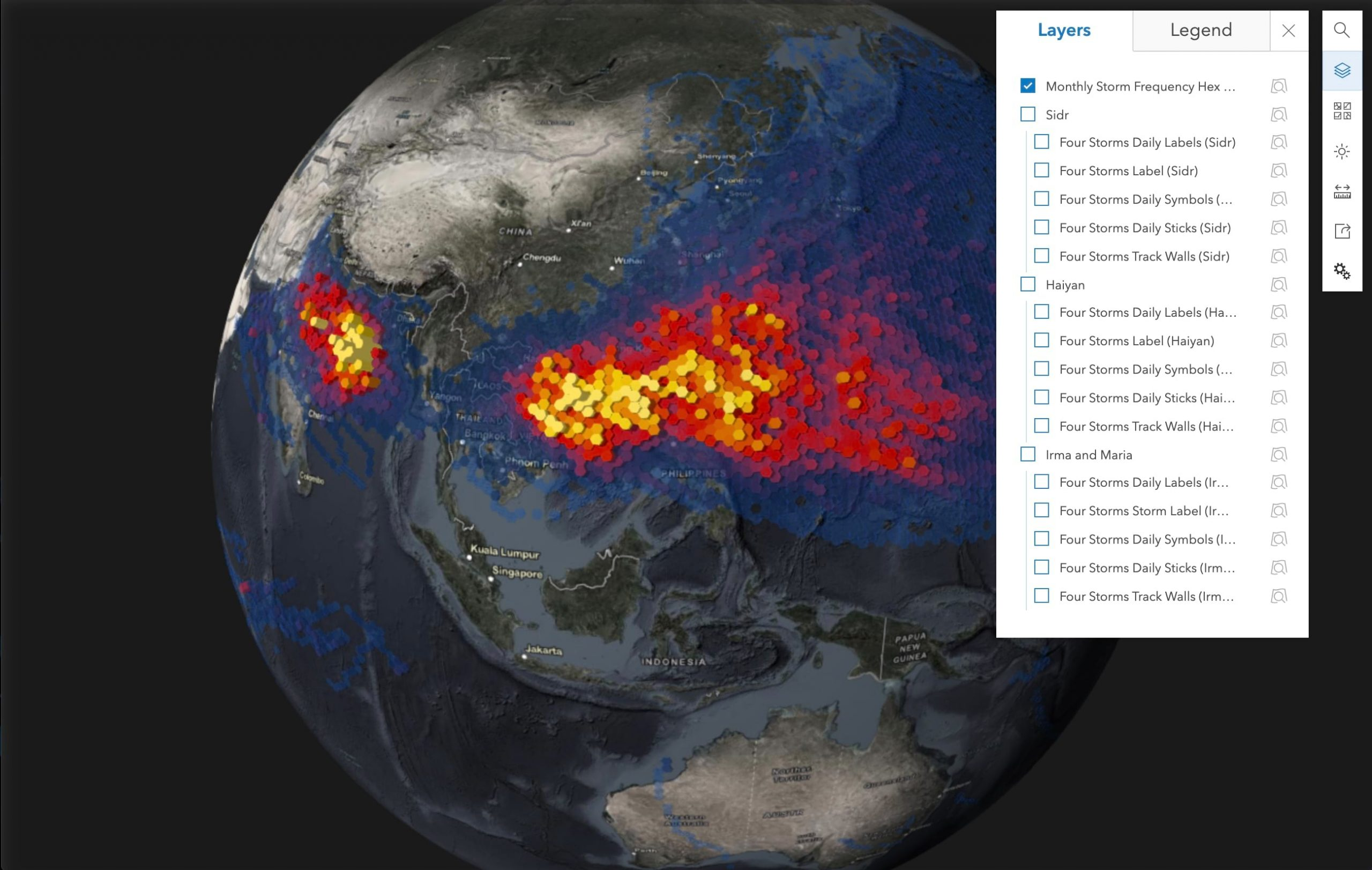 A screenshot of the web scene viewer for the cyclone 3D data set