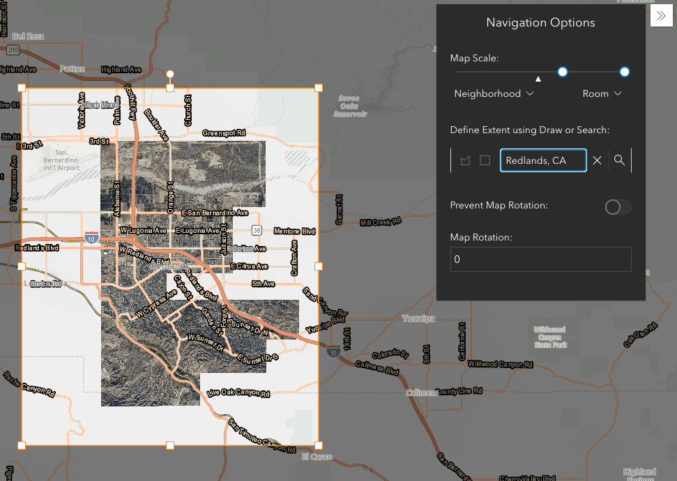 Image of the Navigation Boundary window with boundary centered on Redlands, CA using the Search tool