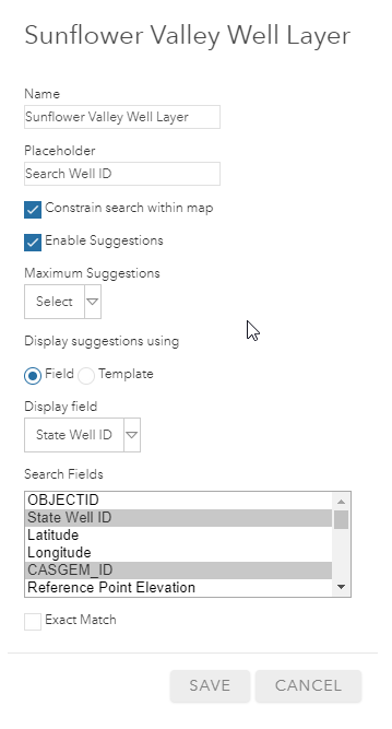 Search settings for the feature layer with multiple search fields selected