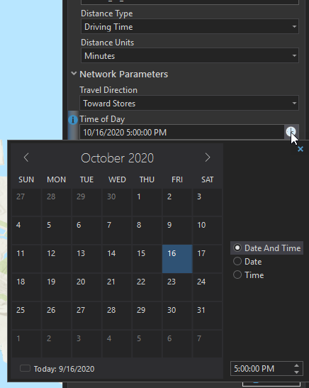 Tool Network Parameters with date and time selected.