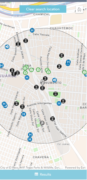 Nearby app on a mobile device