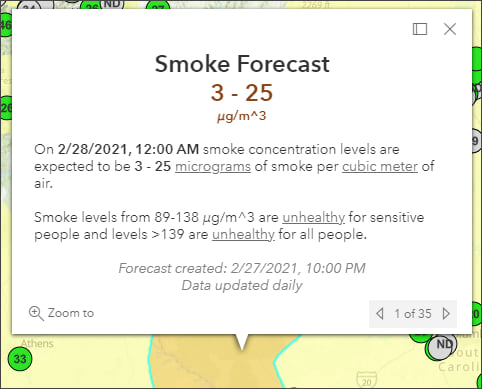 Smoke Forecast pop-up