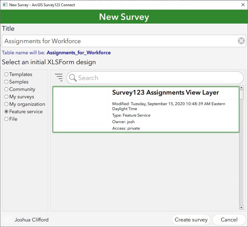 New Survey window