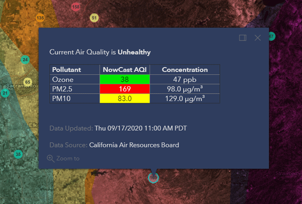 pop-up with air quality