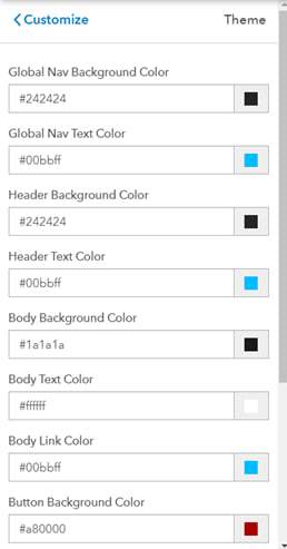 Screenshot of adjusting theme color settings to headers, backgrounds, body sections, and more by applying colors' hex values for branding.
