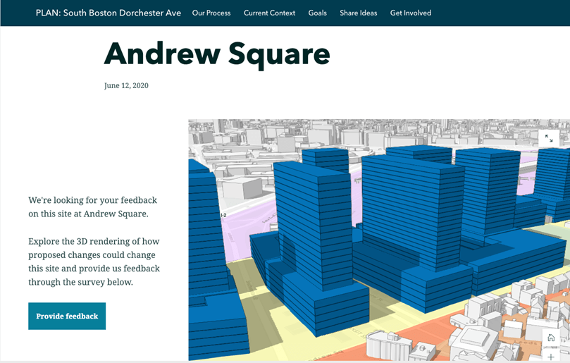An image of Andrew Square in the landing page.