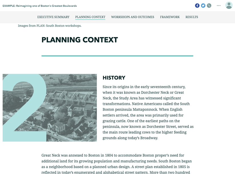 A page showing the project context.