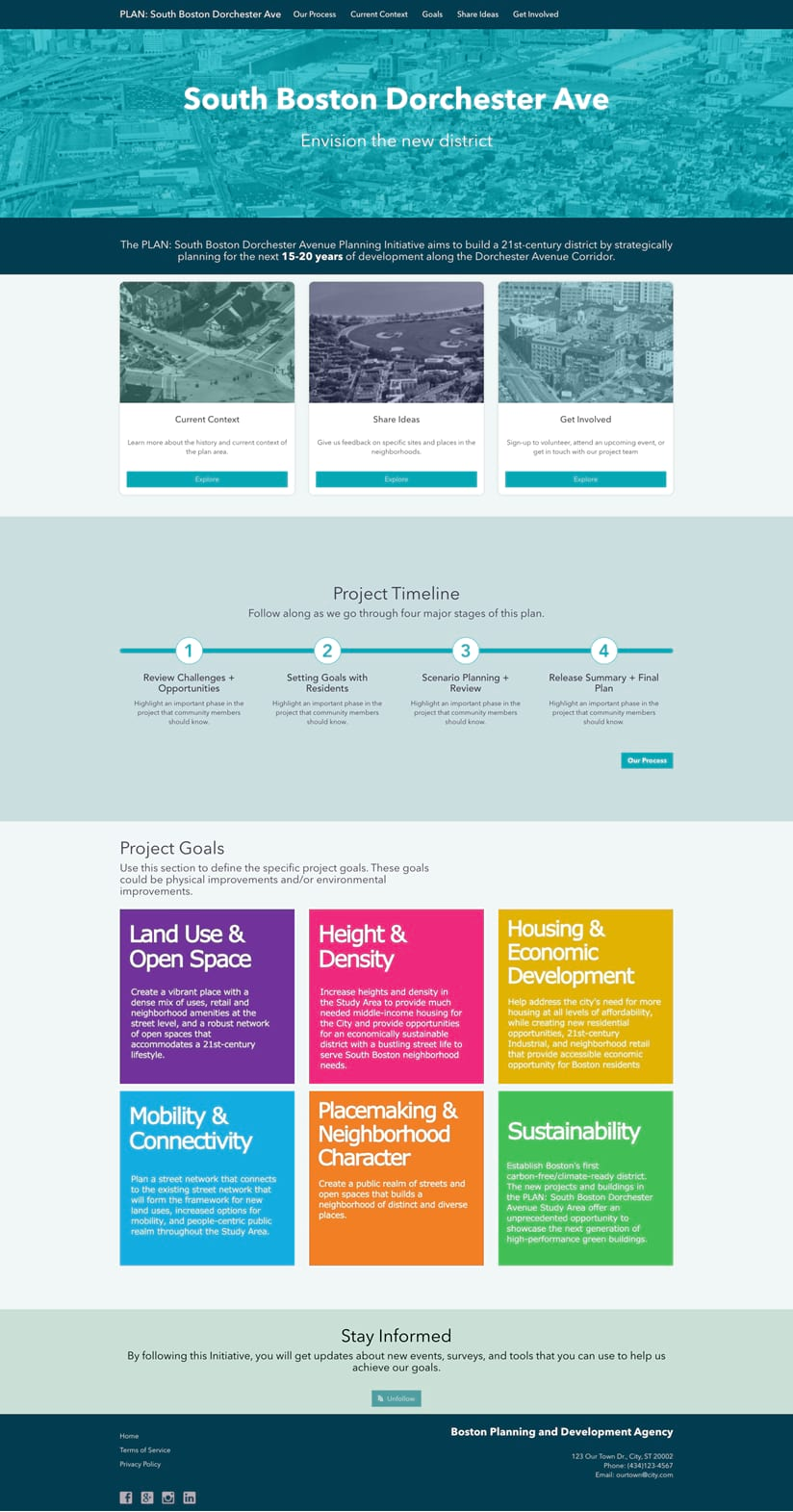 A picture of a project web page for South Dorechester Ave in Boston.