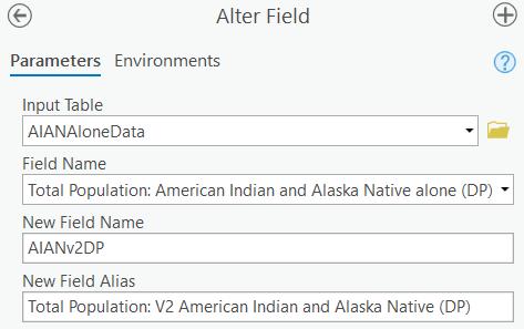 Alter Field tool parameters