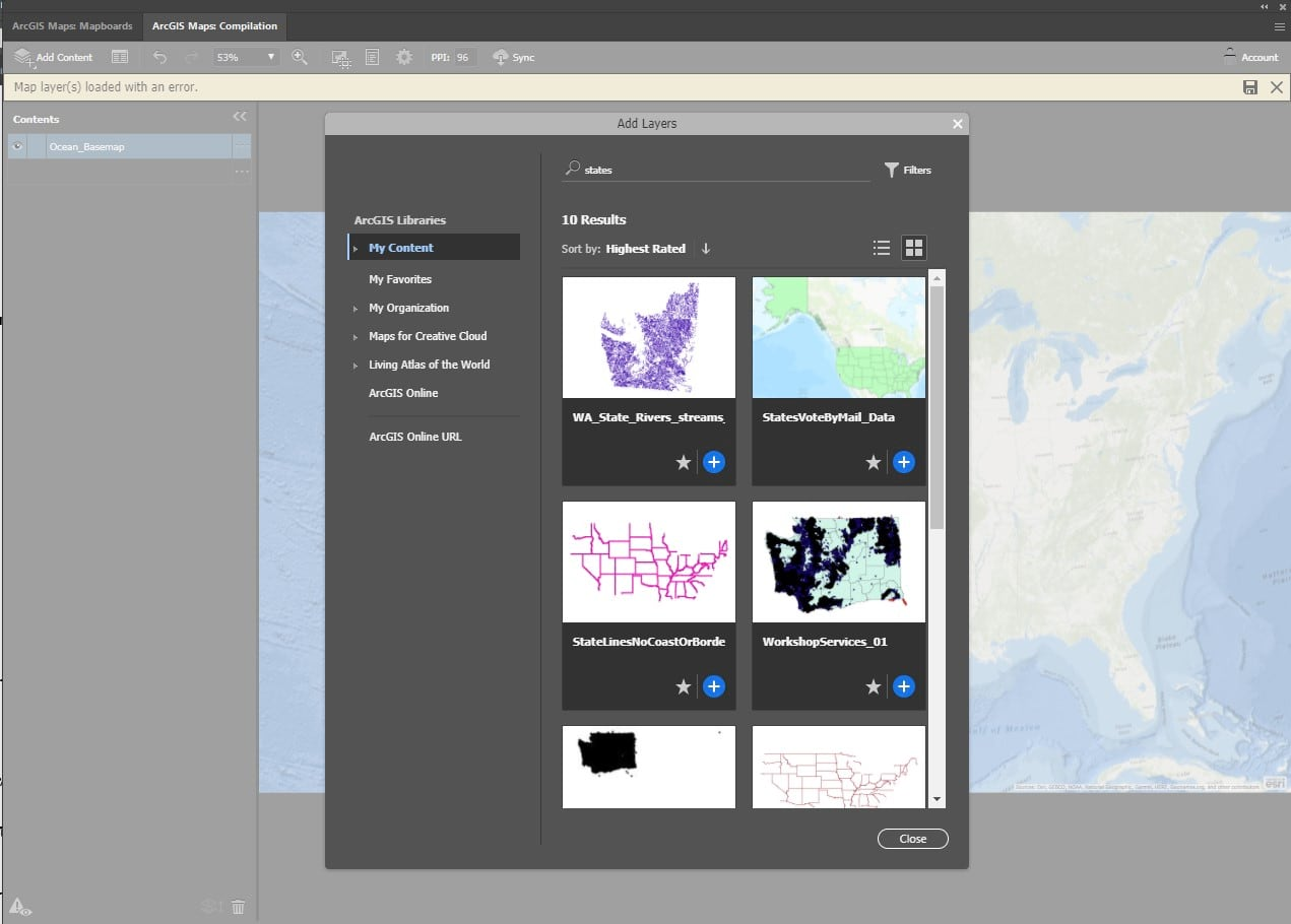 Adding new data from ArcGIS Online to the mapboard