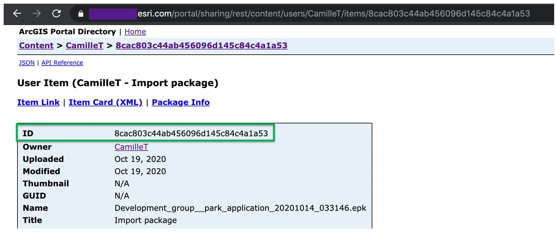 Capture item ID in the REST API