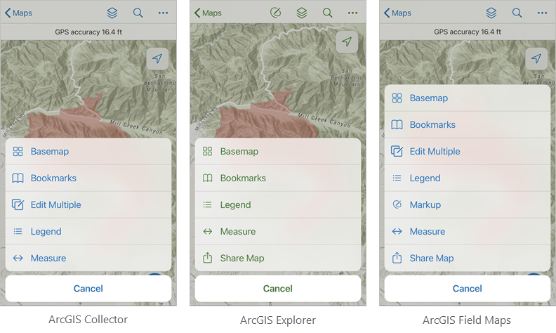 Collector, Explorer, and Field Maps overflow menus