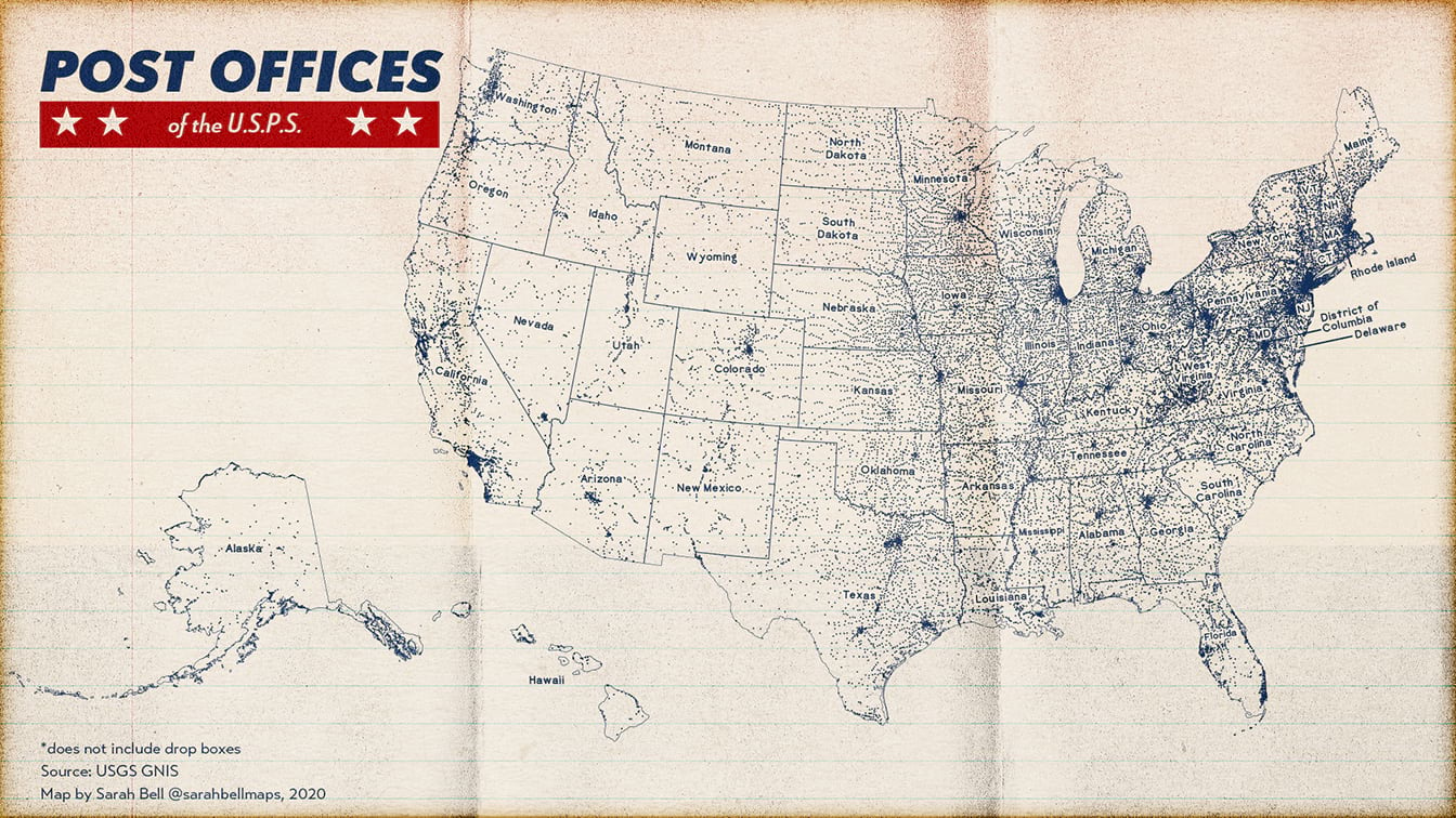 Point map of usa post office locations