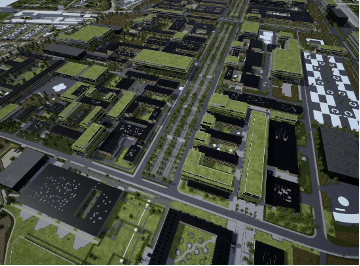 A birds-eye view of a city made with CityEngine