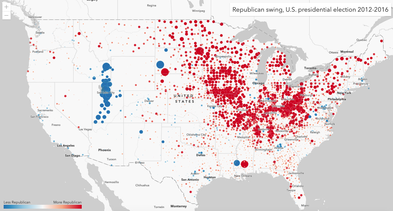 Republican swing in the 2016 election. Red icons indicate counties where a higher percentage of people voted for the Republican candidate compared to 2012. Blue counties represent a decline in Republican support. Size indicates the strength of the swing.