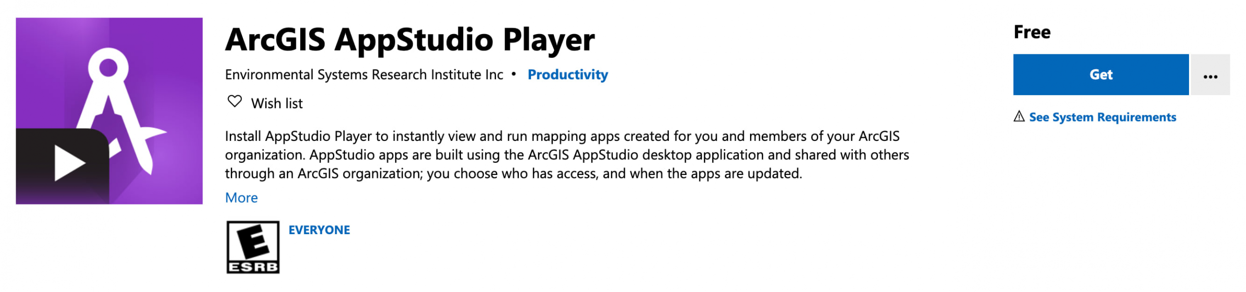 AppStudio Player at Microsoft store