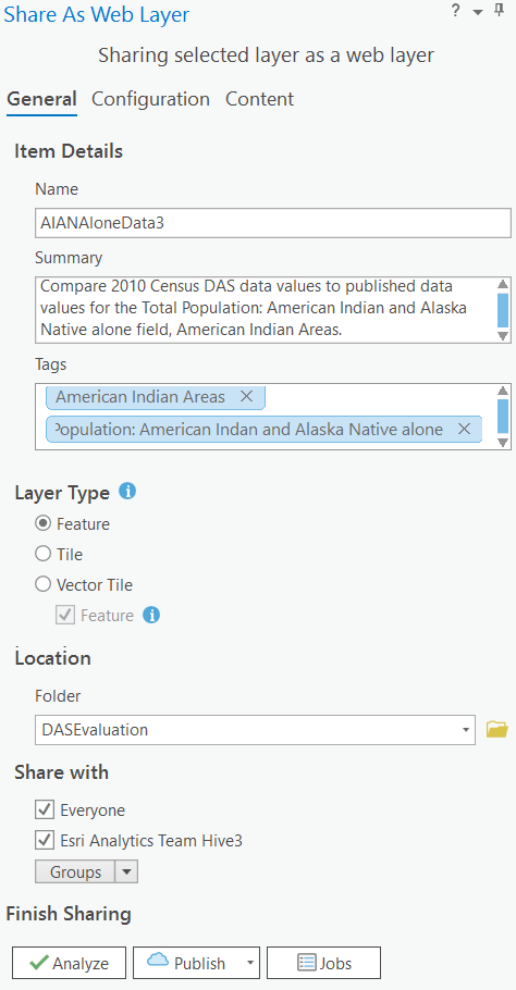 Parameters to share as web layer