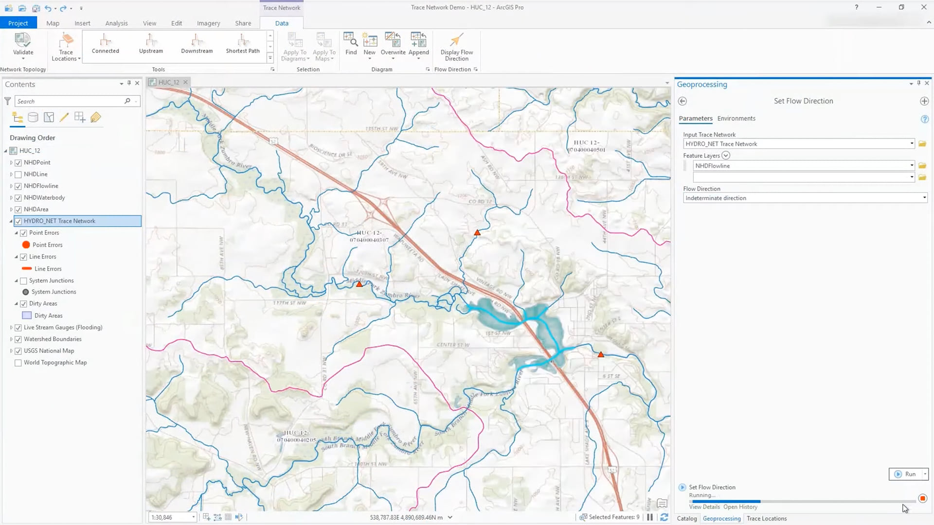 arcgis pro trace network