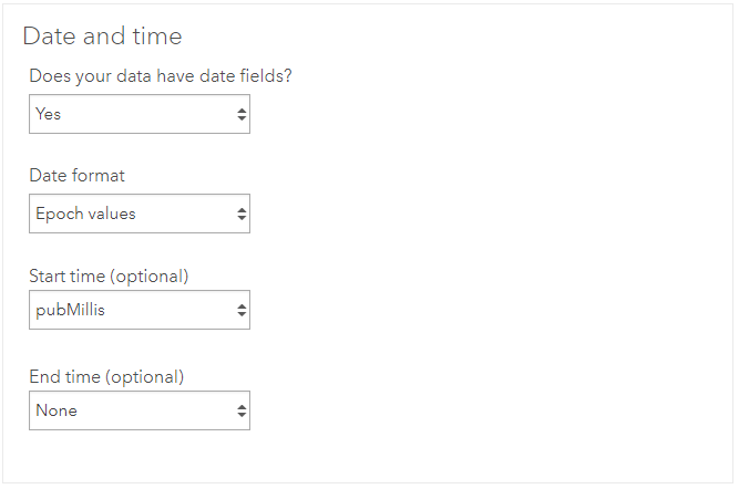 ArcGIS Velocity feed datetime config