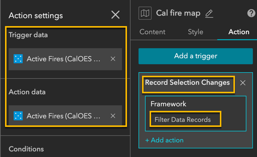 Actions to filter table