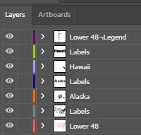 Parent layer organization structure in Adobe Illustrator when opening an AIX file