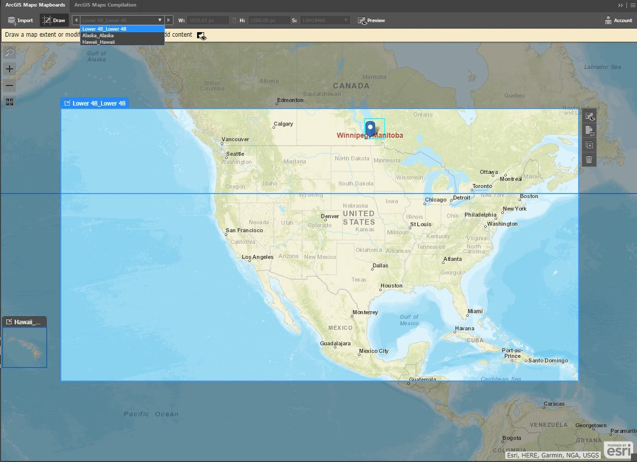 Mapboard panel with the mainland USA selected as active map